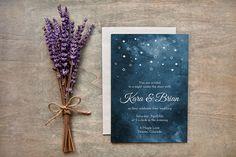 Painted Starry Night Wedding Invites {Fully customizable}