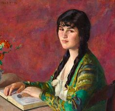 Ivan G. Olinsky  Young Woman Reading  20th century