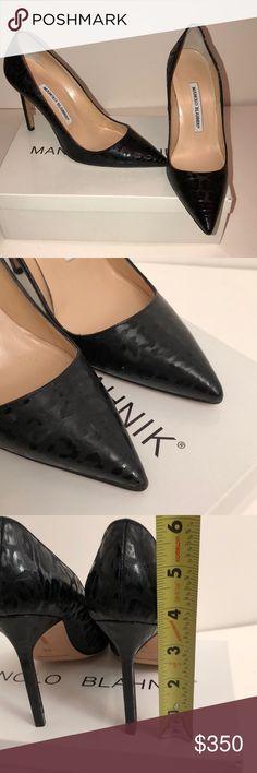 Manolo Blahnik Black Leopard patterned BB Pumps New Manolo Blahnik Patent Black Leopard patterned BB Pumps. Size 5.5. No trades please! Manolo Blahnik Shoes Heels