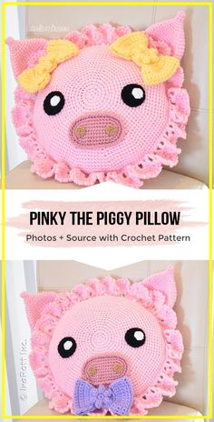 For Beginners Pillows crochet Pinky The Piggy Pillow pattern - easy crochet pillow pattern for beginners Crochet Pig, Crochet Home, Cute Crochet, Crochet Crafts, Crochet Doilies, Easy Crochet, Crochet Projects, Crochet Cushion Cover, Crochet Pillow Pattern
