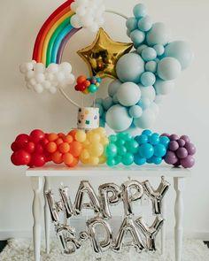 Little Pony Birthday Party, Rainbow Birthday Party, Diy Birthday, Birthday Party Themes, Rainbow Parties, Themed Parties, Birthday Ideas, Simple Birthday Decorations, Rainbow Party Decorations