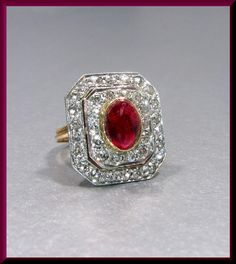 Antique Vintage Turn of The Century 14K Yellow Gold Cabochon Ruby and Diamond Statement Cocktail Ring by AntiqueJewelryNyc on Etsy
