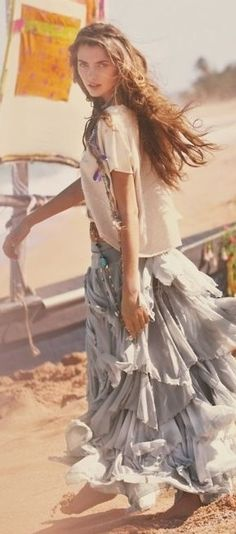 Pretty flowing boho chic maxi skirt for a hippie gypsy flair. ↓↓↓FOLLOW↓↓↓  https://www.pinterest.com/happygolicky/the-best-boho-chic-fashion-bohemian-jewelry-gypsy-/ <<NOW for the BEST Bohemian fashion trends.