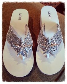 Bling starfish wedding flip flops