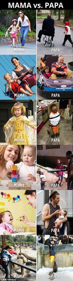 Mütter vs. Väter - kann ich zu 100 Prozent unterschreiben. :D #funny #pic #parents #eltern