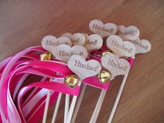 Wedding Wand Favors Hitched Country Heart Wedding Wands for Bride and Groom Send Off