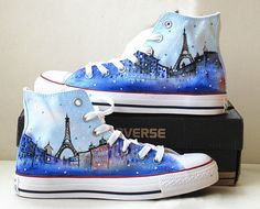 Paris Eiffel Tower Custom Converse Sneakers Hand Painted, 100% hand painted- 100% New Shoes  About Cconverse Size: (Unisex Adults) Please choose size by checking our size conversion chart carefully.  If you have a different design idea, please contact me and send me the pictures, i will give you an offer accor...