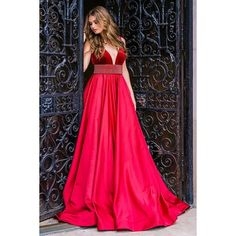 Red Plunging Neckline Pleated Skirt Ballgown 33337 ❤ liked on Polyvore featuring dresses, gowns, pink ball gown, red a line dress, pink evening gowns, pink evening dress and red velvet dress