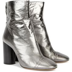 Isabel Marant Grover silver leather ankle boots ($765) ❤ liked on Polyvore featuring shoes, boots, ankle booties, black high heel boots, leather boots, black ankle booties, leather ankle boots and black booties
