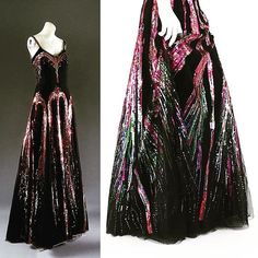 So, book manuscript has gone and in lieu of actual fireworks to celebrate, there is at least a firework dress. This 1938 evening gown is embroidered in a blaze of multi-coloured sequins, Chanel,