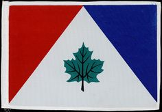 #Canadian #flag design submission from 1964. It comprises a green maple leaf with black stem against a white triangle with red and blue ones banding the sides. Created by an unknown artist.