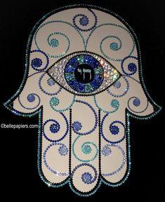 Jewish Hamsa Hand of Good Look Evil Eye Eye of Fatima Jewish Jewish Crafts, Jewish Art, Mandala Painting, Mandala Art, Hamsa Art, Hamsa Design, How To Celebrate Hanukkah, Mosaic Madness, Hand Of Fatima