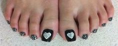 Something simple for my toes! Tiny white polka dots on a black base, and something special for the big toenails! Big toenail: Black base and a white heart filled with tiny black polka dots. I was c...