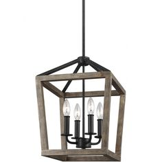 Feiss - - Gannet Weathered Oak Wood/Antique Forged Iron 12 Inch 4 Light Chandelier - Home remodel - Oak Wood, Wood Chandelier, Weathered Oak, Iron Chandeliers, Chandelier Lighting, Wood And Metal Chandelier, Summer Living Room Decor, Lantern Light Fixture, Wood Pendant Light