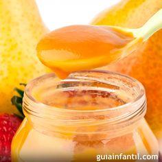 Papilla de manzana, melocotón y fresa