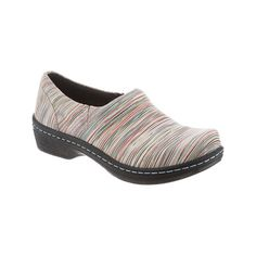 Women's Klogs Mission Clog - Candy Stripe Leather Casual (400 PLN) ❤ liked on Polyvore featuring shoes, clogs, casual, casual shoes, slip resistant shoes, real leather shoes, klogs shoes, light weight shoes and clog shoes