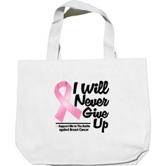 Breast Cancer I Will Never Give Up Mini Tote Bags #BreastCancer #BreastCancerAwareness #Nevergiveup