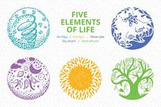 Five Elements of Life - Vector Set by VecRas on @creativemarket