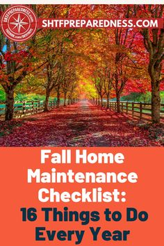 These are the 16 things you should do to prepare your home for fall. SHTFPreparedness have compiled this checklist for you to follow so that nothing is left unattended to. Performing home maintenance is important so that you don't get any nasty surprises when you least expect them, plus, going over the checklist as a family gets you ready for the colder months around the corner. Take a look to see how prepared you are for fall. #homefallchecklist #preparingforfall #falltodolist