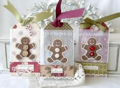 Gingerbread Man Tags, would make cute gift tags Christmas Paper Crafts, Christmas Tag, All Things Christmas, Christmas Classics, Homemade Christmas, Holiday Gift Tags, Holiday Cards, Scrapbooking, Xmas Cards