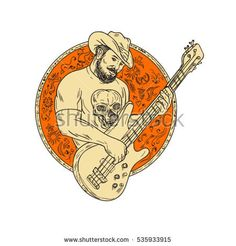 Drawing sketch style illustration of a bearded cowboy wearing hat holding playing bass guitar viewed from front set inside circle. Drawing Sketches, Drawings, Sketching, Guitar Sketch, Circle Drawing, Boys Playing, Handmade Design, Royalty Free Stock Photos, Retro Illustrations