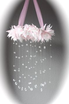 Shabby Chic Baby Mobile / Pink Baby Mobile / by ScrapHappyFaith