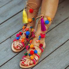 "Bohemian Pom Pom Sandals "" Elyseum ""  Lace up Sandals / Tie up Sandals/ Wrap up Sandals /Handmade Decorated Greek Leather Sandals"
