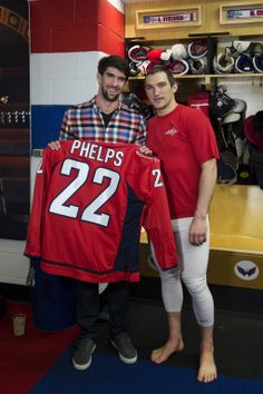 Capitals captain Alex Ovechkin meets Olympic gold medalist Michael Phelps.