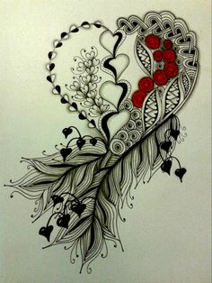 Like the idea but I'd do a feather on the right, maybe words on the left to make the heart The post Diva Challenge 154 appeared first on Woman Casual - Tattoos And Body Art Zentangle Drawings, Zentangle Patterns, Tattoo Drawings, Zentangles, Tatoo Art, Body Art Tattoos, Cool Tattoos, Tribal Rose Tattoos, Skull Tattoos