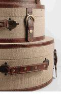 Set of Three Cote d'Azur Burlap Round Cases $46