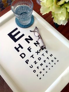 Home Made Modern: Z Gallerie Knock-Off: Eye Chart Tray (*use black, floral tray from Js)