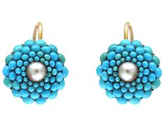 Victorian Turquoise & Pearl Pave Set Round Earrings - The Antique Jewellery Company