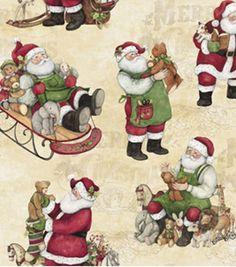 Holiday Inspirations Fabric- Susan Winget Vintage Busy Santa