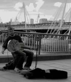 Busker on the Southbank, London.