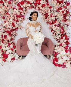 Beautiful Bridal Dresses, Fancy Wedding Dresses, Western Wedding Dresses, Wedding Gowns With Sleeves, Lace Mermaid Wedding Dress, Elegant Dresses, Wedding Bells, Wedding Hair, Black Bride