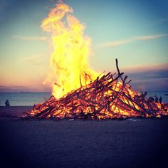 Sankthans is a holiday in Denmark to mark the height of summer and is celebrated with bonfires by the sea.