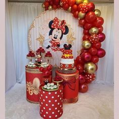Minnie Mouse Balloons, Minnie Mouse Birthday Decorations, 1st Birthday Party For Girls, Red Minnie Mouse, Ballerina Birthday Parties, Girls Party Decorations, Mickey Mouse Clubhouse Birthday, Girl Birthday Themes, Mickey Mouse Birthday