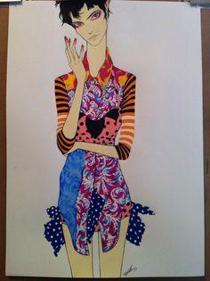 Saskia de Brauw - fashion illustration by Pippa McManus (based on DAZED & CONFUSED magazine June 2011 photos, photographer: ben toms styled by jacob k)