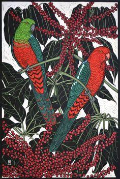 King Parrot, Hand coloured linocut on handmade Japanese paper by Rachel Newling 75 x 50 cm Australian Parrots, Australian Native Flowers, Australian Artists, Bird Illustration, Illustrations, Linocut Prints, Art Prints, Block Prints, Pet Birds