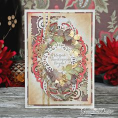 Graciellie Design: A Blessed Thanksgiving to You, Fall inspired card with deco foil, gold foiling, Fall leaves, Autumn handmade card