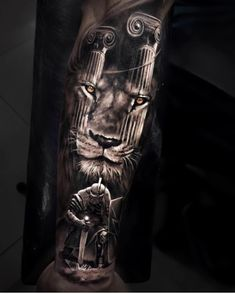 Lambs Become Lions - Tattoo Ideas Lion Back Tattoo, Lion Tattoo Sleeves, Gladiator Tattoo, Warrior Tattoo Sleeve, Warrior Tattoos, Armor Tattoo, Angel Warrior Tattoo, Leg Tattoos, Sleeve Tattoos