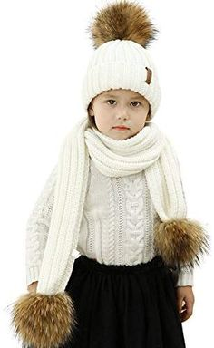 7709be6137d Kids Hat and Scarf Set Winter Knit Beanie Pom Pom Hat Unisex Baby Warm  Chunky Thick