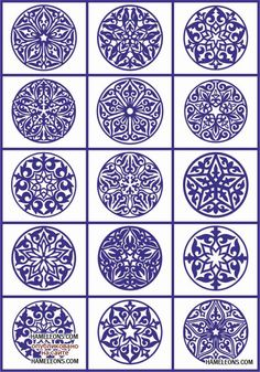 Decorative patterns: interior ideas and tracery for designers Mandala Painting, Dot Painting, Pottery Painting, Ceramic Painting, Stencil Templates, Stencils, Blue Pottery, Pottery Designs, Pyrography