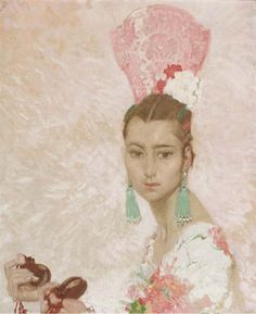 William Russell Flint - Consuelito's Pink Comb