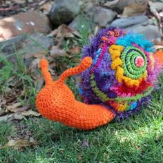 20 #Crochet Snails, Caterpillars, Slugs and Worms - patterns and inspiration - including this #art snail that's part of an iPhone game