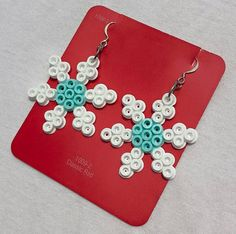 How Cold ICE COLD Perler Snowflake Earrings by PixelWonders