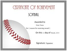 Free Printable Softball Certificate Templates And Awards Each Can Be Customized Before You Print Of Charge With Your Text Photos