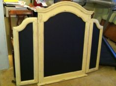 Repurposed dresser mirror into a beautiful large chalkboard.