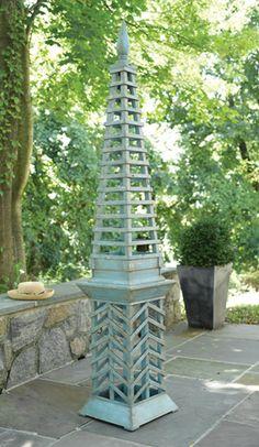 Picture of Antique Topiary Garden Obelisk in Green