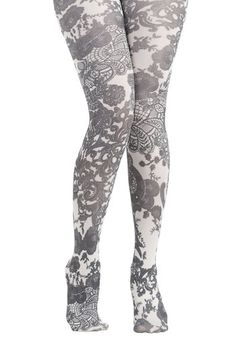 When given the choice between wearing solid colors or these printed tights, you'll always opt for this darling pair by Tabbisocks! A black doily-inspired pattern adorns the stretch knit of these white tights, making them your go-to accessory if ever your ensemble needs sprucing up!